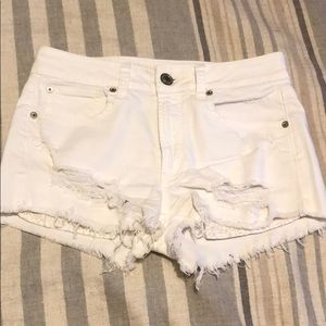 American Eagle Outfitters Shorts - High Rise White Cut Off's